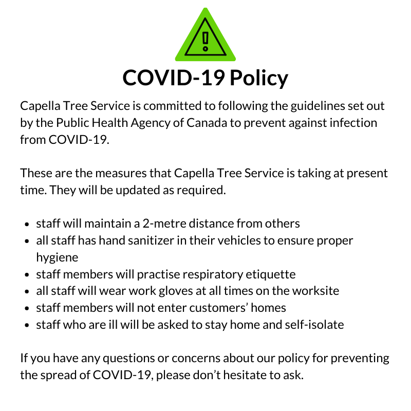 COVID-19 Capella Tree Service Policy
